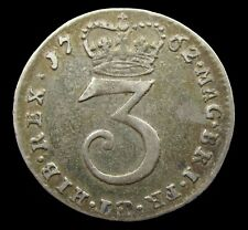 More details for george iii 1762 silver maundy threepence - gf