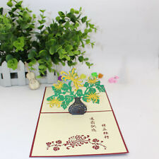 Creative Engraving Chrysanthemum Stereo Flowers Origami Ornaments Card Jian