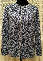 Quacker Factory Womens Cardigan Sweater Size XS Gray Animal Print Long Sleeves