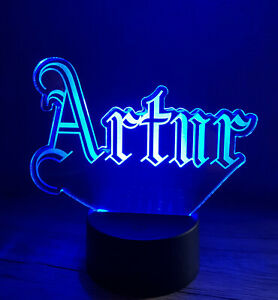Name LED Night Lamp Personalised Gift Any Font Multi Lights USB Remote Room Sign