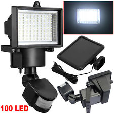 100 LED Bright Solar Powered PIR Sensor Flood Security Light Outdoor Garden Wall