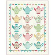 """Granny's Teapots Quilt Kit 59"""" x 76"""" with Granny Chic Fabric by Lori Holt"""