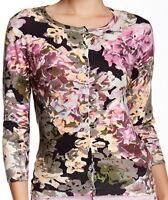 Charlotte Tarantola Plum Floral Striped Cardigan Sweater Size 1X*
