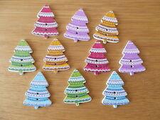 10 Arbre de Noël random mixte de forme en bois boutons Scrap Book artisanat coudre #