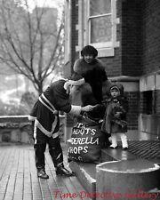Santa Giving Little Girl a Christmas Toy - 1921 - Historic Photo Print