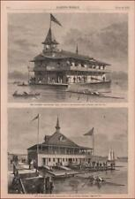 ROWING BOAT HOUSE, COLUMBIA & YALE, antique engravings original 1875