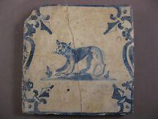 Antique Dutch Tile Animal Puma 17th - free shipping