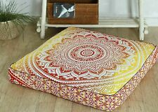 "Indian Red Ombre mandala Cotton Cushion Cover 35"" Floor Pillow Case Pouf Yoga"
