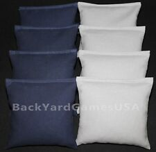 All Weather Cornhole Bean Bags Navy & Gray Resin Filled Waterproof
