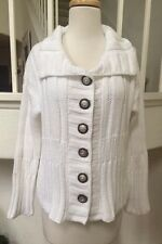 Pure Handknit White Cable Knit 3/4 Sleeve 100% Cotton Cardigan Sweater Size M/L