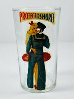 VTG WW2 Victory Homefront Peekaboo Pinup Glass #2 Protect our Shores