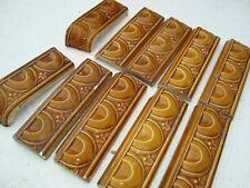 Brown high relief lot 10 bullnose border tiles 6x2 Art Nouveau Majolica