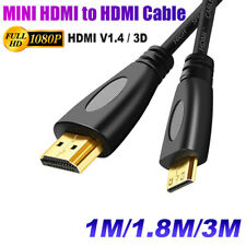 Mini HDMI to HDMI Cable V1.4 3D with Ethernet HD 1080p Tablet Smart Phone
