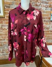 Denim & Co Pink Floral Brushed Heavenly Jersey L/S Button Front Top New