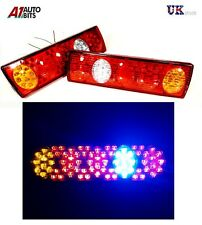 PAIR 12V LED REAR TAIL LIGHTS LAMP 5 FUNCTION TRAILER CARAVAN TRUCK LORRY 74 LED