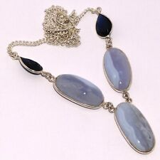 """BLUE LACE 925 SILVER PLATED NECKLACE 17"""", AB-7562"""