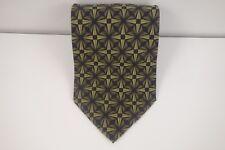Jhane Barnes 100% Silk Mens Beige, Green and Black Geometric Neck Tie