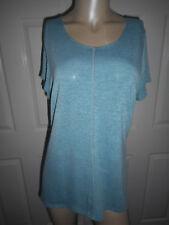 Vintage Suzie Women's XL Short Sleeve Teal & Gray Top Longer Sides