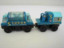 Rare Retired Wooden Thomas Railway Train Sodor Water Works Pumper & Tanker Car