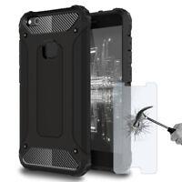 Shockproof Hard Hybrid Cover For Huawei P10 Lite Rigid Plastic Full Case Black