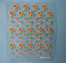 3D Nail Art Stickers Decoration Summer White Orange Flowers Daisies (R02)
