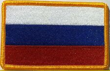 RUSSIA Flag Patch With VELCRO® Brand Fastener Gold Emblem #70