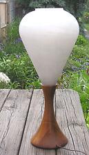 Vintage Electric Lamp Danish Modern Teak Base Frosted Glass Shade