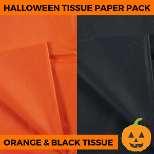 Halloween Tissue Paper Pack - Orange Black Wrapping Sheets Craft Acid Free Gift