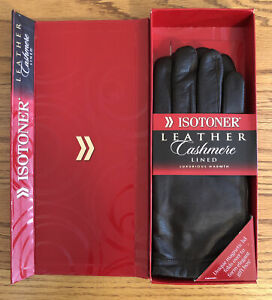 ISOTONER Black Leather Cashmere Lined Gloves Womens Sz 8 New In Box