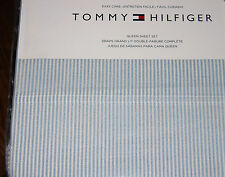 Tommy Hilfiger Blue & White Chambray Ithaca Stripe QUEEN Sheet Set--NWT