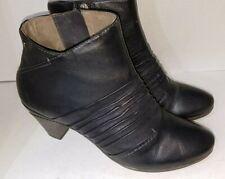 Pikolinos Black Leather Booties Heels Size Zipper Womens SIze 40