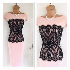 JOSEPH RIBKOFF Pale Pink & Black/ Lace & Jersey Dress Uk Size 18