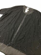 Ulla Popken Women's Kimono Open Front Cover Up Sz 32/34 Plus Size Beaded Black