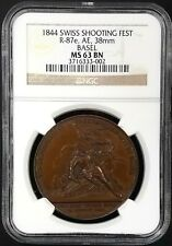 1844 Swiss Shooting Fest Medal, R-87e, AE, 38 mm, Basel, graded MS 63 BN by NGC!