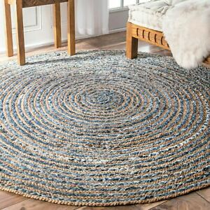 Round Jute and Recycled Cotton Denim Indian Rug Blue 90cm Soft and Hard Wearing