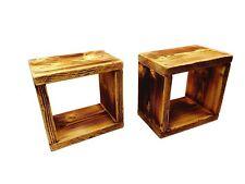 2x Wandregal Regalwürfel Regal Massivholz geflammt handgefertigt