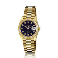 Rolex 31mm Presidential 18kt Gold Purple Color Dial with Diamond Accent Diamond