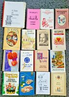 HUGE 16 SPIRAL COOKBOOKS LOT COMMUNITY LOCAL UNUSUAL COOK BOOK VTG HTF RECIPES