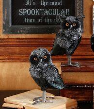 "3752264 RAZ 8"" S/2 Dead Black Owl Halloween Table Figure Party Decoration Gothic"