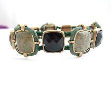 Liz Claiborne  Stretch BRACELET IN GREEN Gems Vintage Goldtone Elastic