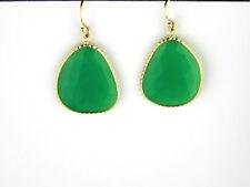 Chrysoprase Earrings Set In 14K Yellow Gold