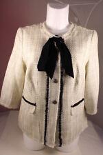 Damen Blazer Jacke Dt.Qualität Boucle Optik beige Lurex mit Wolle Gr 48 HR0165