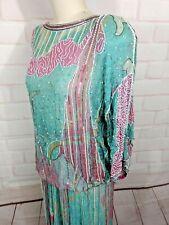 Lillie Rubin  VTG 70's Silk Beaded  top and skirt Set S