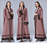 New Dubai Open Cardigan Vintage Islamic Lace Abaya Kaftan Jilbab Maxi Robe