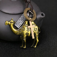 Alloy Leather Adjustable Bronze Antique Camel Pendant Sweater Necklace Lady Gift