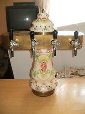 Tall Bavarian Flowers Tavern Beer Ceramic Tower Dispenser Rustic Deco Keg Draft