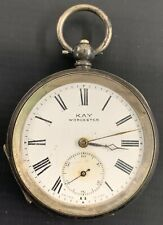 Silver Pocket Watch Antique Kay Worcester Sterling