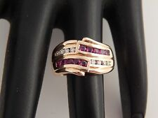 .64 tcw AAA+ Red Ruby & Diamond Wide Band Cocktail Ring 14K YG Stunning G/SI