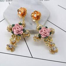 Women's Gold Baroque Cross Earrings Party Flower Crystal Eardrop Drop Earring