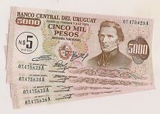 Four Banco Central Del Uruguay Cinco Mil Peso Banknotes--Pristine Condition !